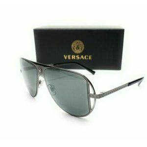 Versace Men's Gunmetal Grey Pilot Sunglasses!